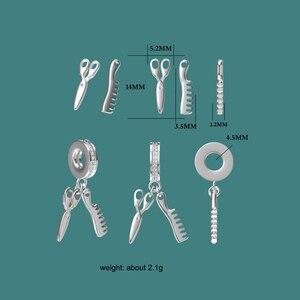 Высокое качество, Популярные 925 Твердые серебряные ножницы и гребень, подвесное очарование, подходит для браслета, ювелирные изделия для же...