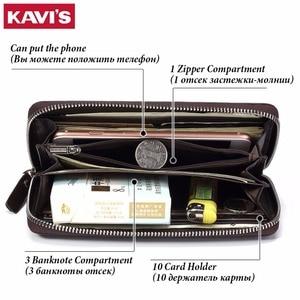 Image 3 - KAVIS 2019 Famous Brand Men Wallets Genuine Leather Coin Purse Male Cuzdan  Clutch Long Business Walet Portomonee Magic Perse