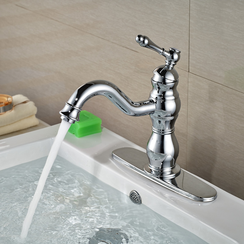 Polished Chrome Long Spout Brass Basin Vessel Sink Faucet Single Lever One Hole Mixer Taps with