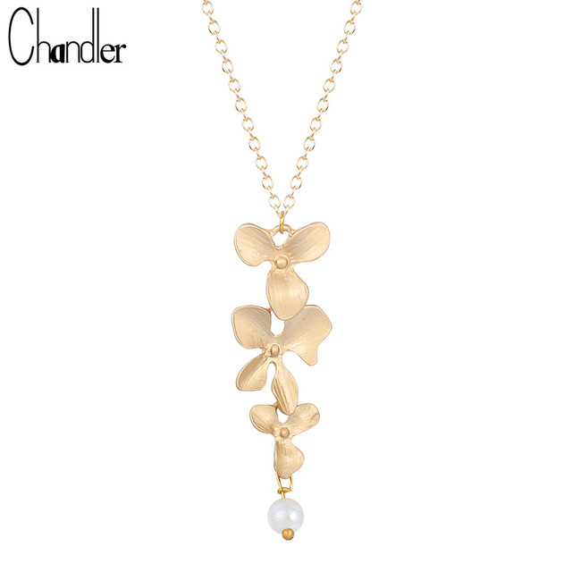 Chandler Gold Silver Plated Three Orchid Pendant Necklaces Blooming Flower With Pearl Coliers For Women Elegent Statement Gifts
