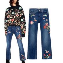 Новая Женщина Мода Цветы Птицы Вышитые Синий Мыть Джинсы Укороченные Брюки С Изношенные Хем Брюки S198