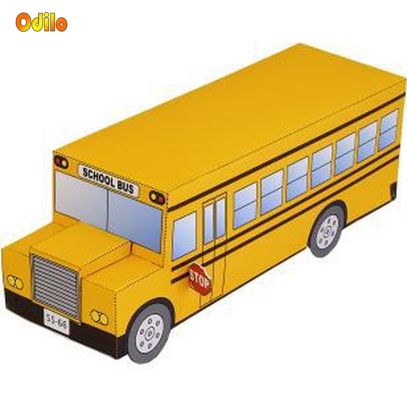 Us 305 20 Off120 3d Paper Model Space Library Papercraft Cardboard House For Children Paper Toys School Bus Cartoon Origami Educational Toys In