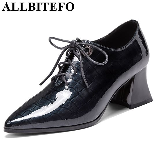 ALLBITEFO Natural Genuine Leather High Heels Spring Autumn Women Heels Office Ladies Shoes High Quality High Heel Shoes