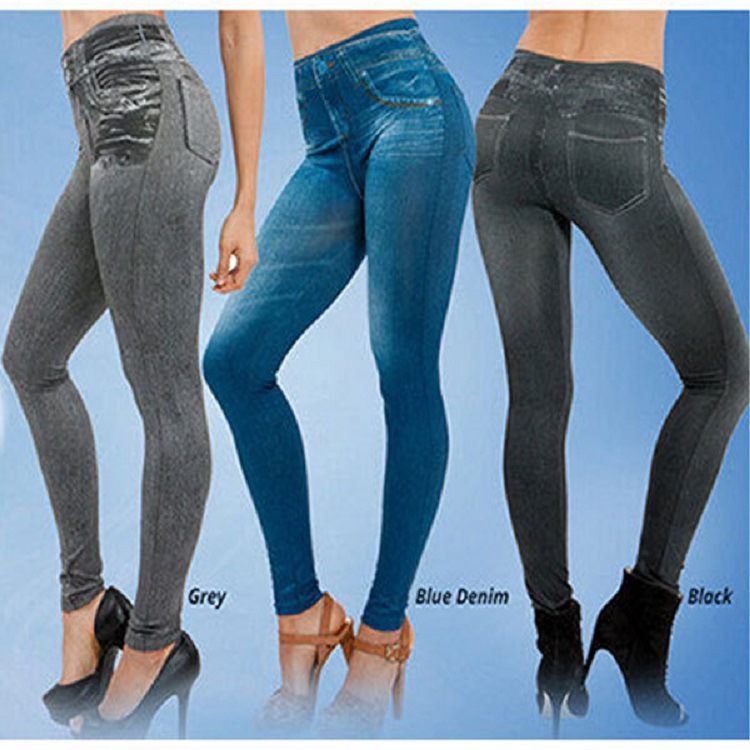 European And American-Style Hot Selling Really With Pockets Short Corset Denim-like Fabric Seamless Leggings Leggings