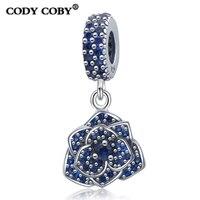 En gros 925 En Argent Sterling Bleu Cristal Charme Rose Fleur Perles Fit Pandora Bracelet D'origine Mode Bijoux Pour Les Femmes