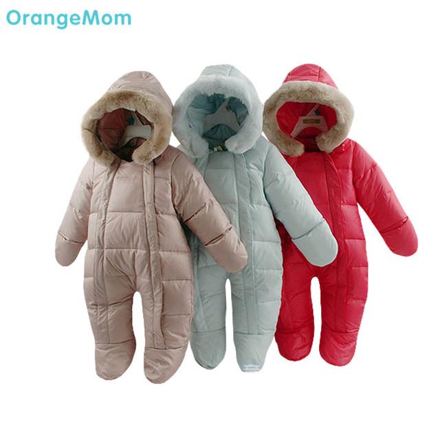 2017 Rusia bebé ropa de las muchachas, clothing de plumas de invierno espesan abajo ropa de recién nacido de los bebés abajo monos monos de nieve infantil