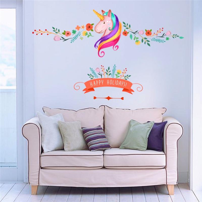 πολύχρωμα λουλούδια floral μονόκερος - Διακόσμηση σπιτιού - Φωτογραφία 5