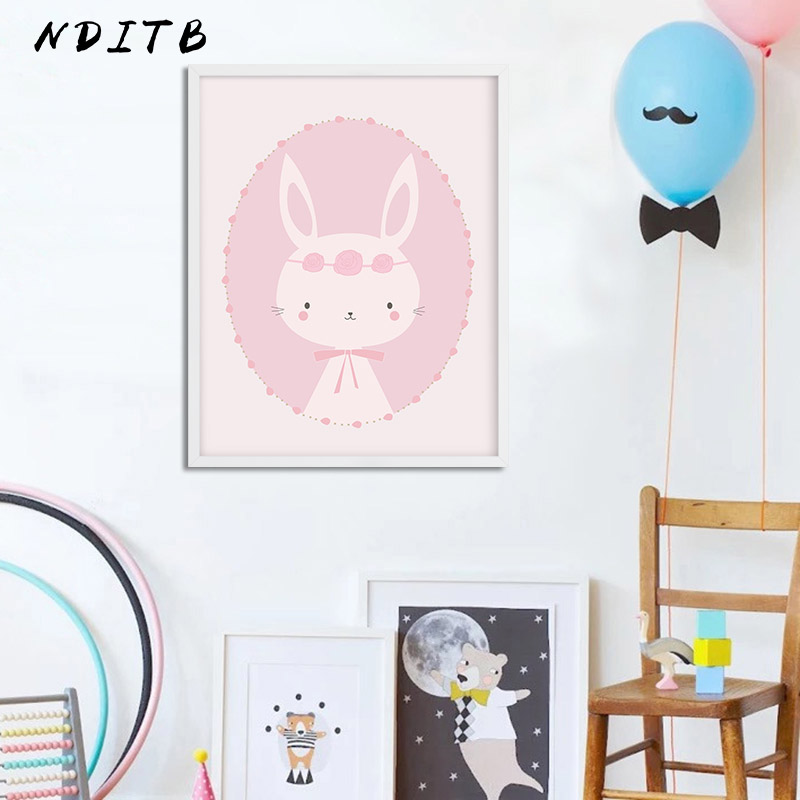NDITB Cartoon Rabbit Canvas Painting Wall Art Posters Nursery Prints Nordic Decoration Pictures Baby Girls Bedroom Decoration