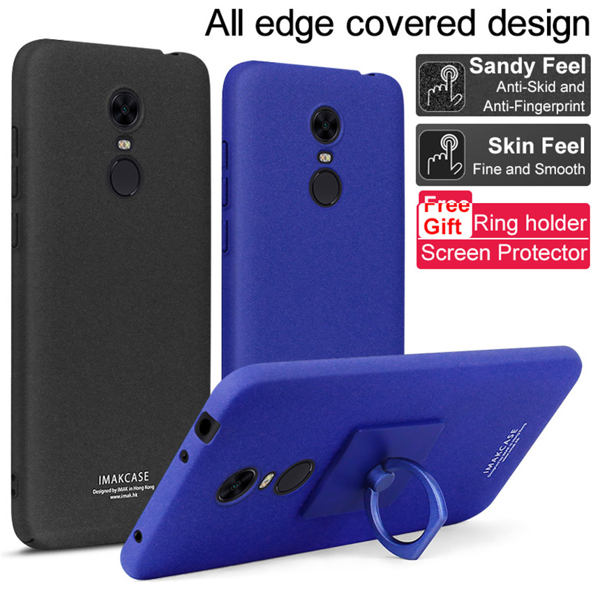 IMAK Cowboy Shell Matte PC Hard Case with Ring which can be used repeatedly Stand+ Screen Film for Xiaomi Redmi 5 Plus ...