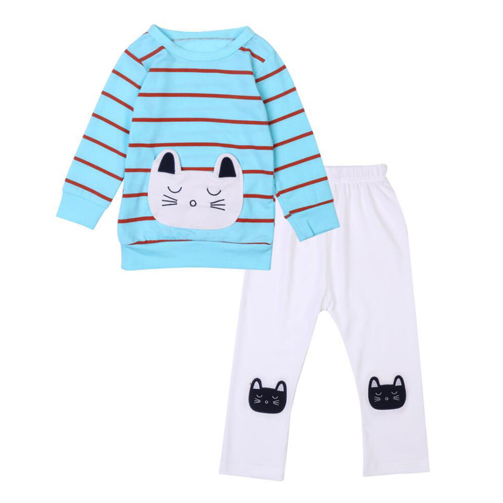 High quality Cute Toddler Infant Baby Cat Stripe Long Sleeve T-Shirt+Pants Outfits Clothes Winter spring Kids Clothing Set Suit