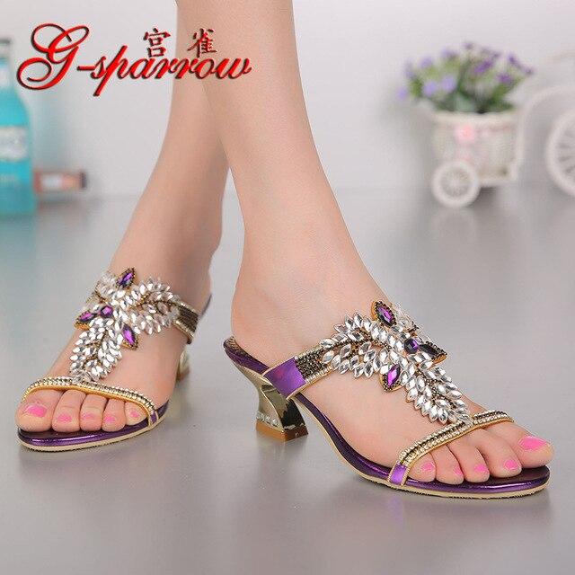 db27b452b شراء عارضة النعال على الانترنت الصيف الصنادل للبيع المرأة كبيرة الحجم عالية  الكعب أحذية