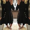 Осень-весна новый line dress колен swing dress кнопка украшения черный сексуальный midi party dress женский случайные vestidos N90
