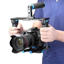 Neewer Aluminum Alloy Camera Video Cage Film Movie Making Kit:Video Cage+Handle Grip+Rod for Canon5D/700D/650D/Nikon/Sony DSLR(China)