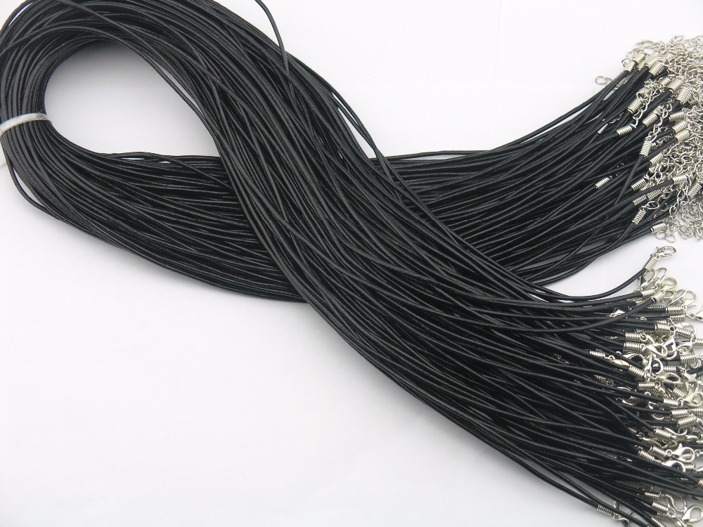 24 black 2.0mm braided cotton rope rope necklace chain lobster claw buckle 50pcs