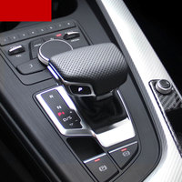 Car Accessories for Audi A4L B9 A5 Q7 2017 Genuine Leather black Gear Shift cover Interior Protection Stickers