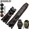 28mm*22mm(buckle) black brown with red stitches Genuine leather watchband  strap for AP men wathes accessories bracelet