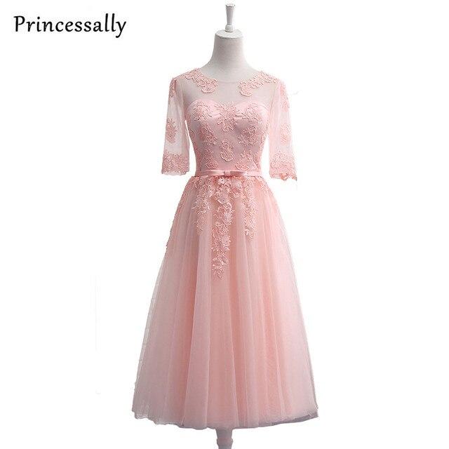 Robe De Soriee Doce Cor de Rosa Vestidos De Noite Bordados Rendas Meia  Manga Noiva Banquete 48976eaa7610