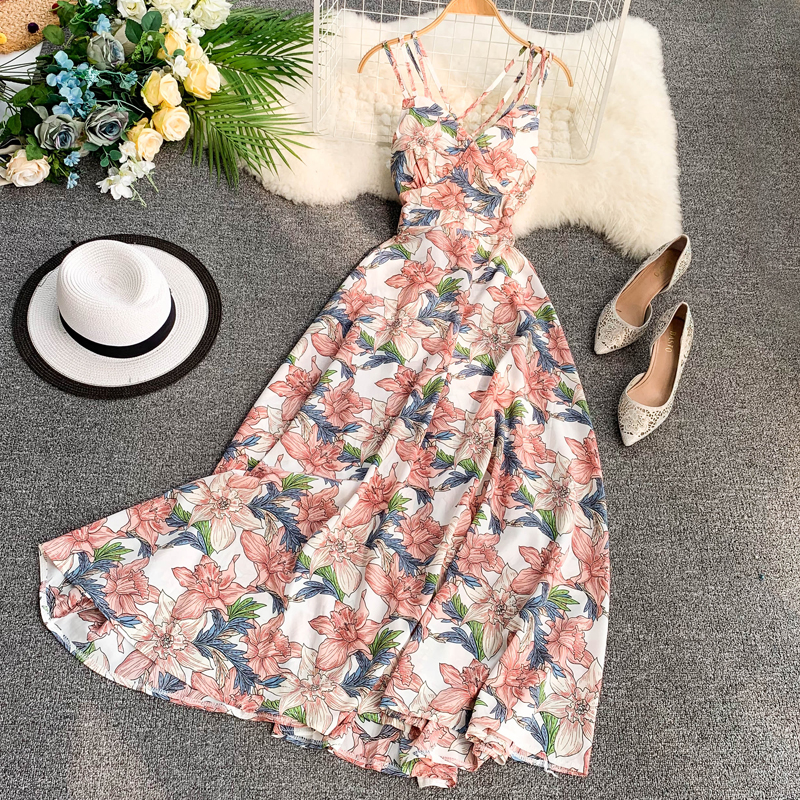 FTLZZ 2020 Women Floral Print Dress Summer Sexy V-neck Backless Long Dresses Female Elegant Bohemian Party Dress Vestido 1
