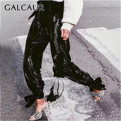 GALCAUR Heavy Sequin Patchwork Pants For Women Elastic High Waist Large Size Bandages Trousers Female 2019 Streetwear Fashion