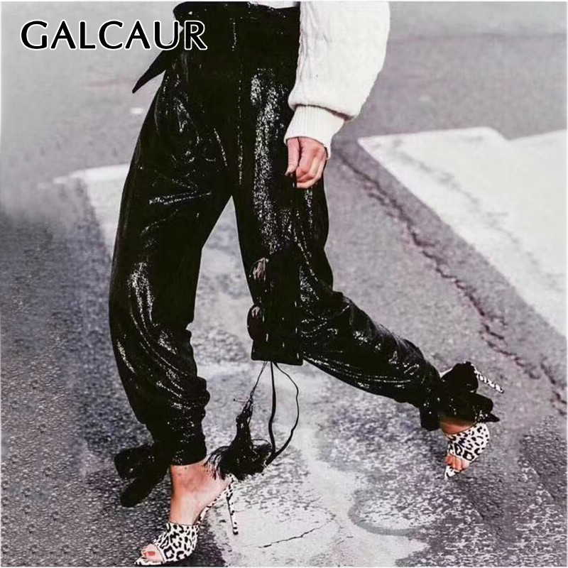 GALCAUR Heavy Sequin Patchwork Pants For Women Elastic High Waist Large Size Bandages Trousers Female 2020 Streetwear Fashion