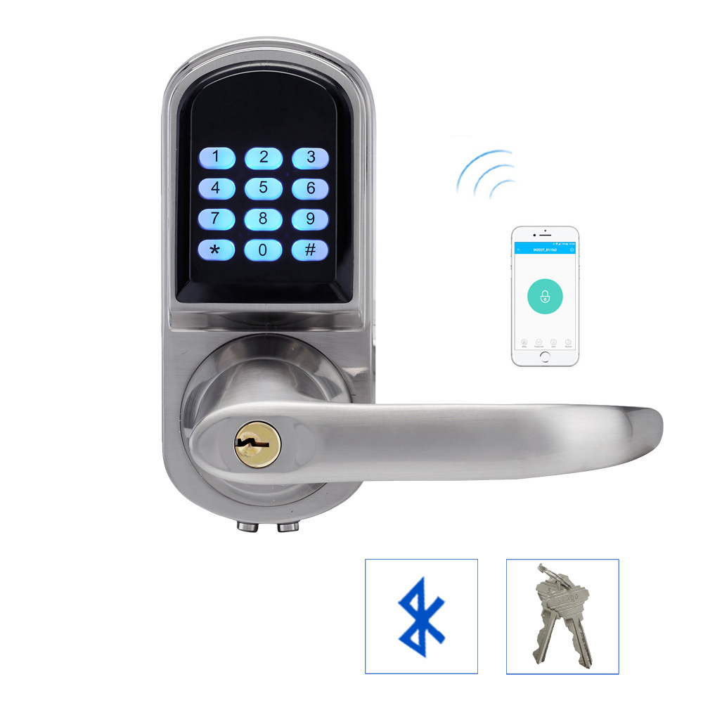 Code Smart Entry Keyless Lock Smartphone Bluetooth Door Lock with Combination Satin Chrome Bluetooth-enabled APP