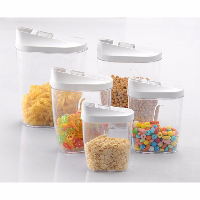 5Piece Locking Clear Acrylic Plastic Food Storage Jars Canisters Bottles  Set With Airtight Lids For Sugar