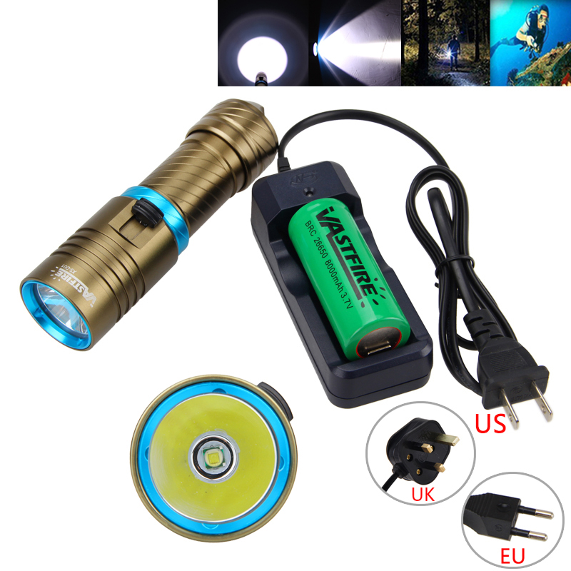 Powerful 10000LM Scuba Diving Flashlight Torch XM-L T6 LED Underwater Lamp Lanterna with 26650 Rechargeable Battery and Charger powerful underwater flashlight led scuba diving lanterna xml l2 waterproof led torch dive light 18650 26650 rechargeable battery
