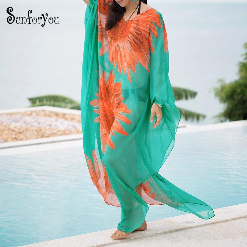 Plus Size Beach Pareo Sarong Chiffon Beach Cover Up Kaftan Beach Bathing Suit Cover Ups Vestido Playa Women Beach Wear