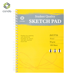 لوحة رسم حلزونية من Conda مقاس 9 بوصة × 12 بوصة للرسم الفني كراسة رسم فنية للرسم الملون قلم رصاص المانجا واللوازم المدرسية