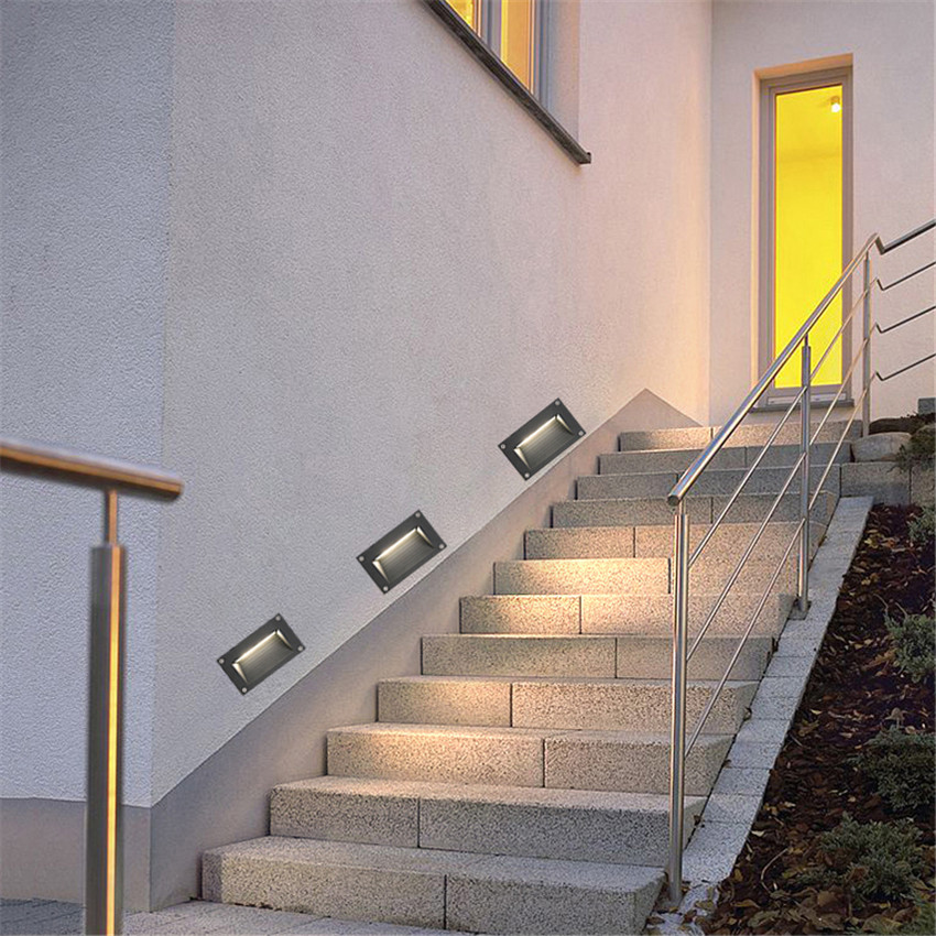 Wall Light led Waterproof Led Stair Light Aluminum 3W Recessed LED Step Lamp Pathway Wall Corner Light Fixture AC85-265V BL25 10pcs led deck light waterproof stainless steel recessed underground lamp dc12v spotlight stair pathway garden light