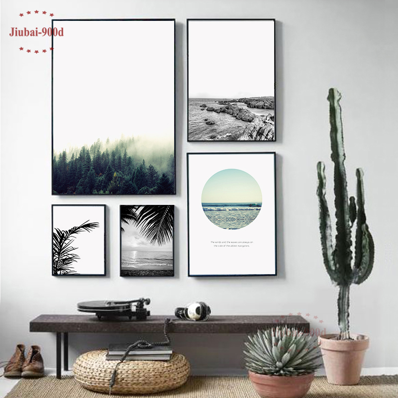 900d Nordic Landscape Canvas Art Print Painting Poster, Forest Wall Pictures For Home Decoration, Wall Decor BW005 цены