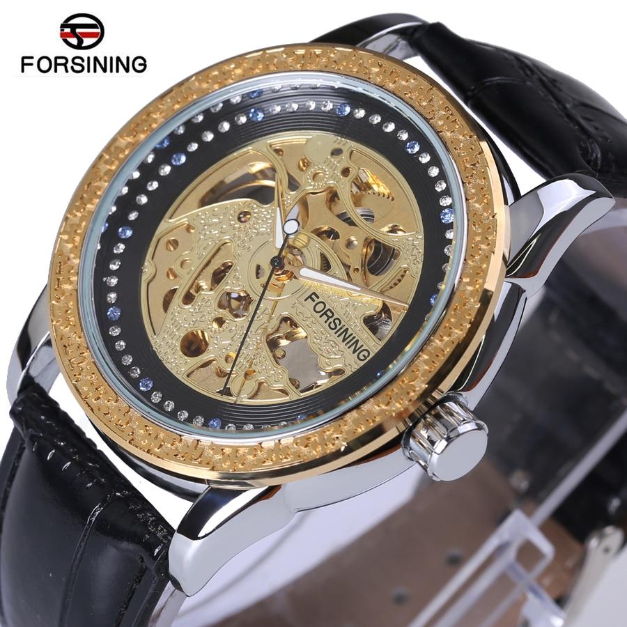 Forsining Top-marke Automatische Luxus Kleine Zifferblatt Diamant Affichage Squelette Uhr Goldene Luxus Bien Designer Herrenuhren