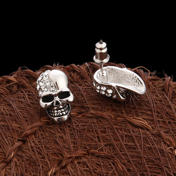 Skull Rhinestone Stud Earrings3