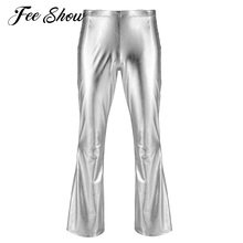 Holographic-Pants Trousers Costume Bell-Bottom Mens Fashion Adult Metallic with Flared