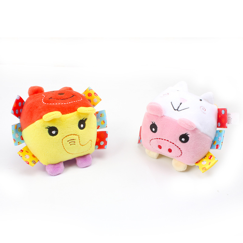 Baby Cognitive Animal Square Bell Soft Plush Fabric Rattle Educational Toys Baby Toys Gift for 0 12 Months in Baby Rattles Mobiles from Toys Hobbies