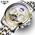 LIGE homens Fase Da Lua Tourbillon Relógios Mecânicos Homens de Aço Completa Relógio À Prova D' Água Homem de Negócios relógios de Pulso Automáticos