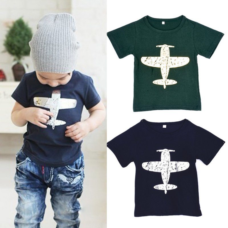 Children-BabyKids-Boys-T-Shirt-Short-Sleeved-Plane-Tees-Cotton-Tops-Cartoon-Clothing-1