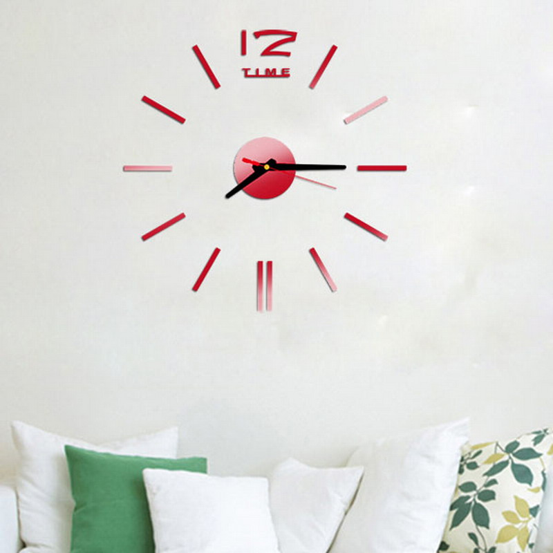 Nueva Moda Reloj de Pared de Acrílico Espejo De Pared de Plástico Casa Decor De