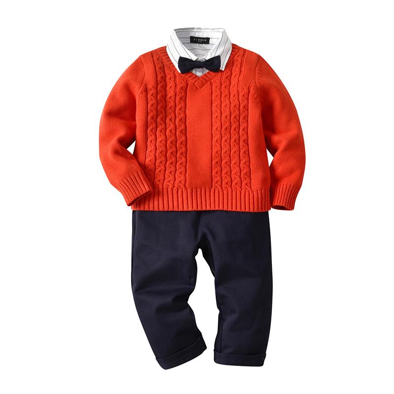 2018 Autumn and Winter New Fashion Boy Suit Sweater+ Shirt + Pants 3pcs/set Brand Leisure Coat Suit Boys Clothing