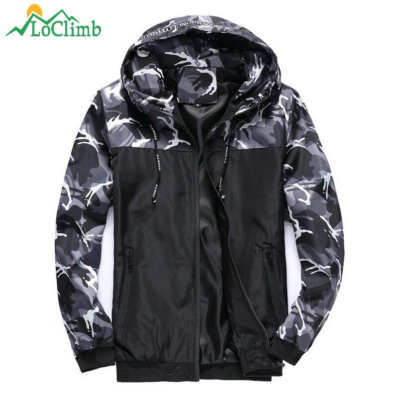 LoClimb hombres camuflaje senderismo hombres chaqueta primavera Camping turismo al aire libre rompevientos escalada Trekking deporte chaquetas AM334