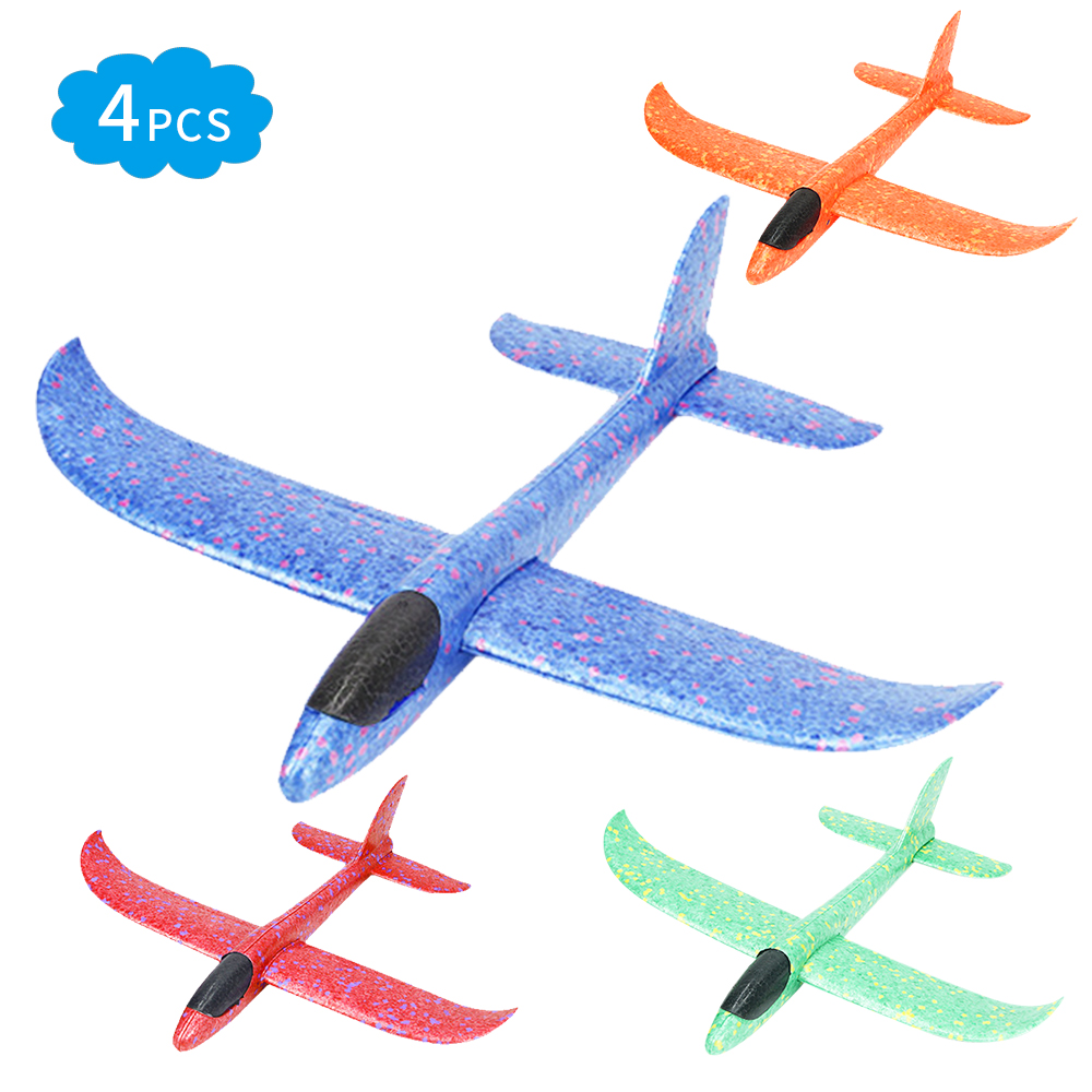 4pcs DIY Airplane Model Hand Throw Flying Glider Plane Foam Fillers Aeroplane Led Flashing Aircraft Toys For Kids Outdoor Party
