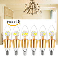 High Quality 6X E12 Base 10W Dimmable Filament Candle Bulb LED Light Lamp 3000k 4000K 6000k