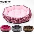 Лидер продаж! Новинка! Разноцветная кровать с леопардовым принтом для кошек и собак, розовая, желтовато-коричневая, пурпурно-красная, коричневая, серая, желтая, размер M, L - фото