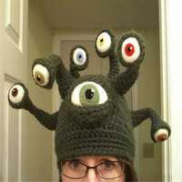New Handmade Monster Eyes Cap Octopus Tentacles Parasyte Manual Creative Parent Child Funny Cap Custome Ball