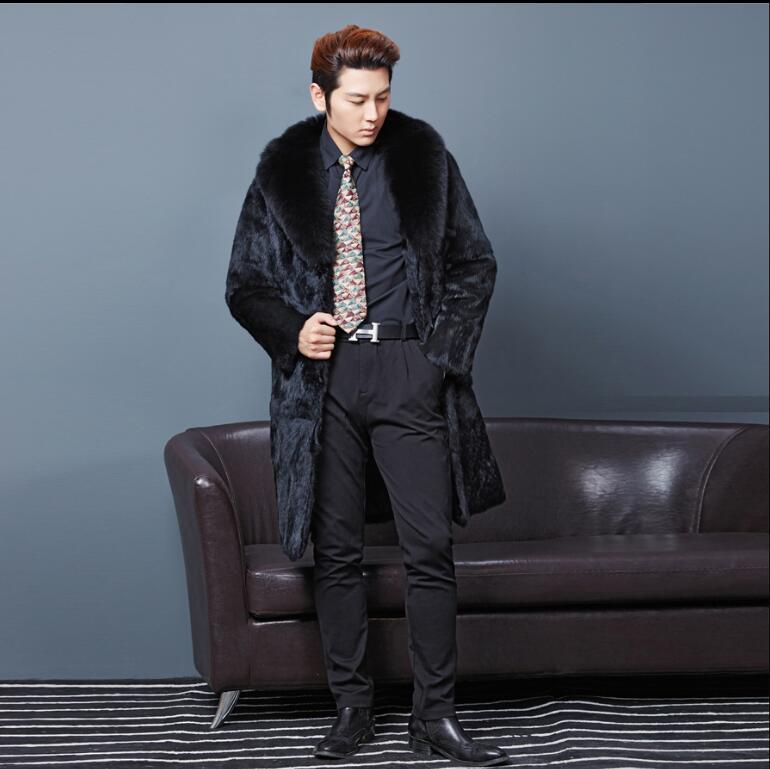 Горячая Распродажа фирменный дизайн натуральный мех кролика пальто Верхняя одежда красивый Для мужчин Рождественский подарок роскошные м