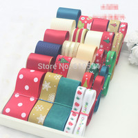 Hot Sales Christmas Series 28meters Mixed Printed Grosgrain Satin Organza Ribbon Set DIY Hairpins Accessories ZD
