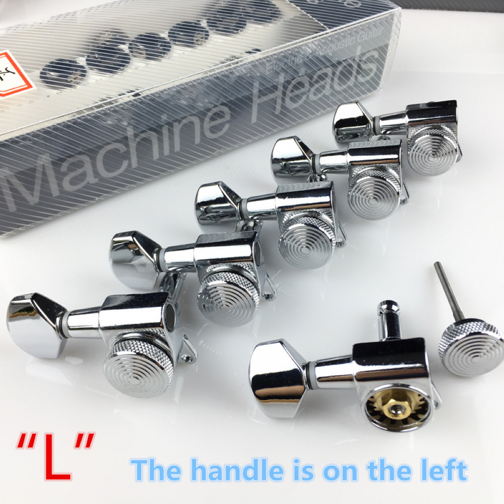 Купить с кэшбэком New Chrome Guitar Locking Tuners Electric Guitar Machine Heads Tuners JN-07SP Lock Silver Tuning Pegs ( With packaging )