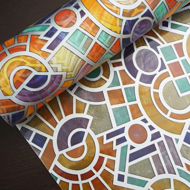 45*200 cm kolor Retro wzory Matowa Matowe Folie Okienne Statyczne Czepiać Prywatności Szkło Naklejki samoprzylepne Winylu
