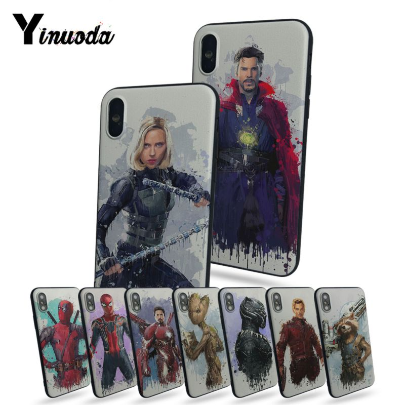 Candid Yinuoda Marvel Superhero Doctor Strange Rocket Black Widow Soft Phone Case For Apple Iphone X 5 5s Se For Iphone 7 8plus 6s Plus Bracing Up The Whole System And Strengthening It Half-wrapped Case Phone Bags & Cases