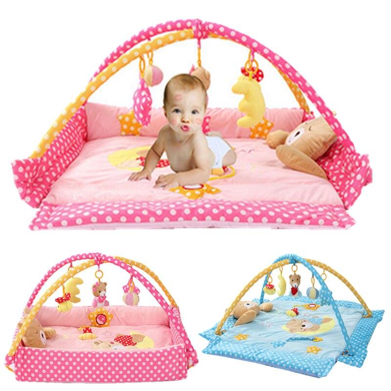 Rose/bleu doux pliable bébé PlayMats nouveau-né jouer tapis ramper Tapete Gym tapis bébé escalade pad jeu enfants jouets éducatifs
